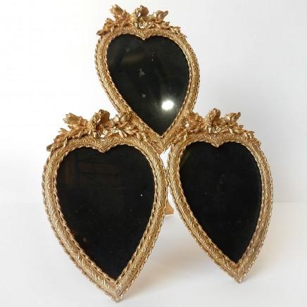 Photo of French Ormolu Triple Heart Photo Frame Wedding Anniversary Gift