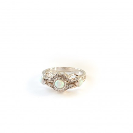 Photo of Genuine Opal Ring Sterling Silver