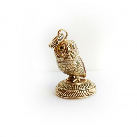 Photo of Gold Plated Owl Signet Seal Stamp