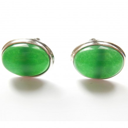 Photo of Jade Natural Stone Cufflinks Sterling Silver