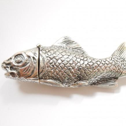 Photo of Large Sterling Silver Oriental Koi Fish Vesta Match Safe Snuff Box