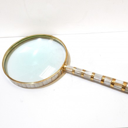 Photo of Magnifying Glass Mother of Pearl & Brass Stamp Collector Crafting Tool