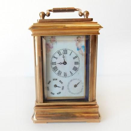 Photo of Miniature French Brass Cherub Multi Dual Carriage Clock