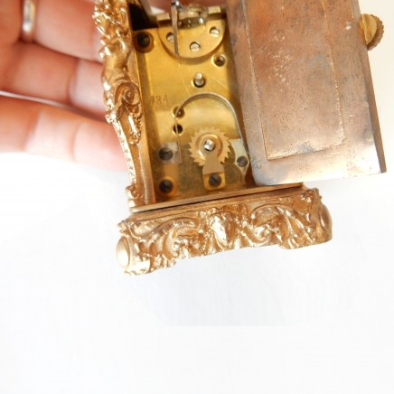 Photo of Miniature French Gilt Ormolu High Relief Nude Lady Carriage Clock