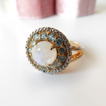 Photo of Moonstone Topaz Dress Ring Vermeil Solid Silver Fine Jewelery