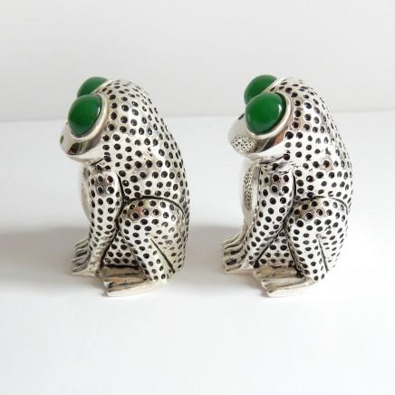 Photo of Novelty Jade Continental Silver Frog Toad Salt & Pepper Pot