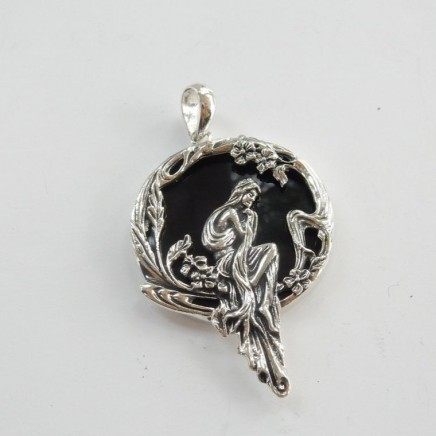 Photo of Onyx Art Nouveau Fairy Pendant