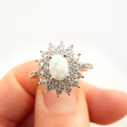 Photo of Opal Cabochon Cubic Zirconia Halo Ring Solid Silver Fine Jewelery