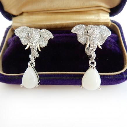 Photo of Opal Sterling Silver Elephant Jewelery Set Ring Earrings Pendant