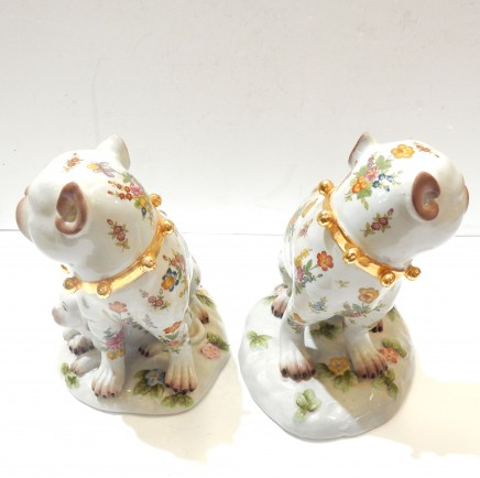 Photo of Pair Porcelain Staffordshire Dogs with Pup Ornament