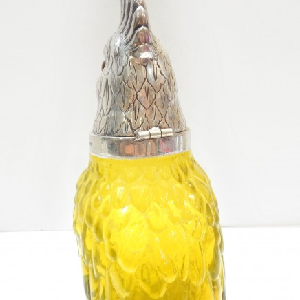 Photo of Parrot Decanter Jug Silverplate & Yellow Glass