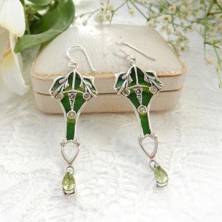 Photo of Peridot Plique a Jour Enamel Droplet Earrings Fine Jewelery