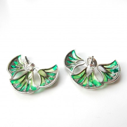 Photo of Plique a Jour Enamel Marcasite Earrings Sterling Silver Fine Jewelery
