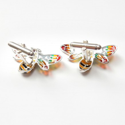Photo of Plique a Jour Enamel Wasp Ruby Cufflinks Sterling Silver