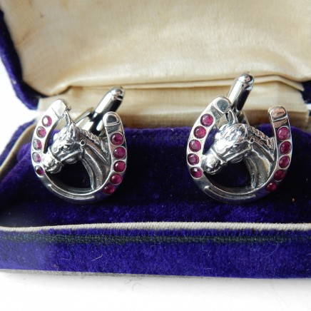 Photo of Ruby Lucky Horse Shoe Sterling Silver Cufflinks