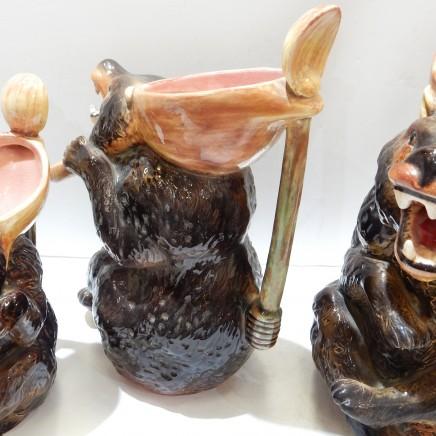 Photo of Set 3 Pottery Ceramic Novelty Bear Decanter Jugs Goldilocks Fairy Tale