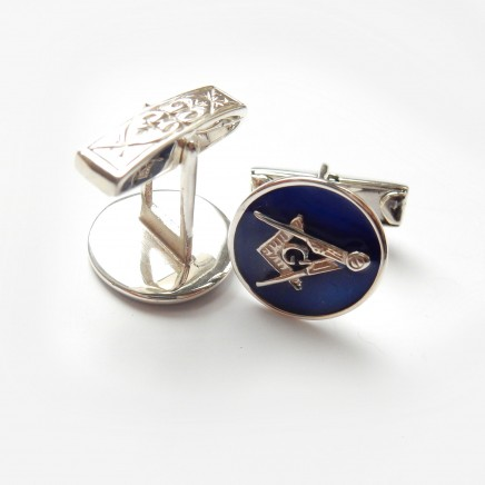Photo of Silver Enamel Masonic Freemasons Cufflinks Sterling Silver