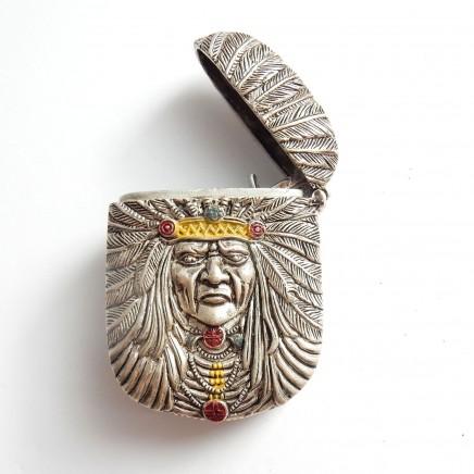 Photo of Silver Enamel Red Indian Chief Vesta