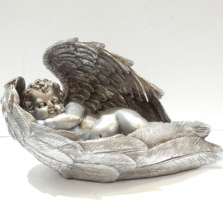 Photo of Silver Sleeping Cherub Angel Wings Figure Ornament