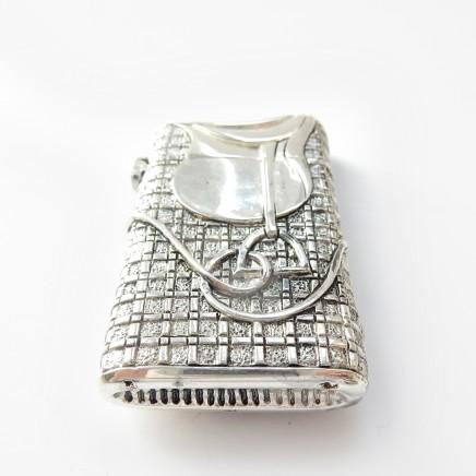 Photo of Silverplated Horse Saddle Stirrup Equestrian Vesta Match Safe Snuff Box