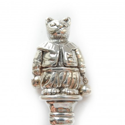 Photo of Solid Silver & Pearl Cat Nursey Rhyme Baby Rattle Christening Gift