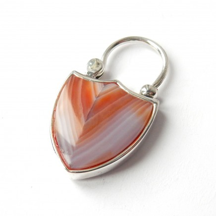 Photo of Solid Silver Agate Padlock Clasp Pendant