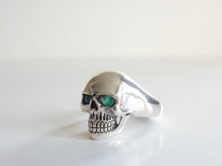 Photo of Solid Silver Green Skull Ring