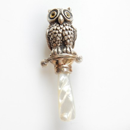 Photo of Solid Silver Pearl Owl Baby Rattle Christening Gift