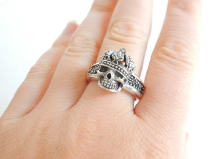 Photo of Solid Silver Skull Crown Ring
