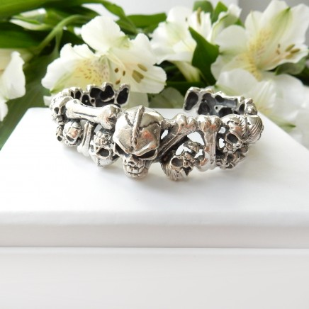 Photo of Solid Silver Skull Skeleton Bracelet Bangle Cuff Fine Skull Jewelery