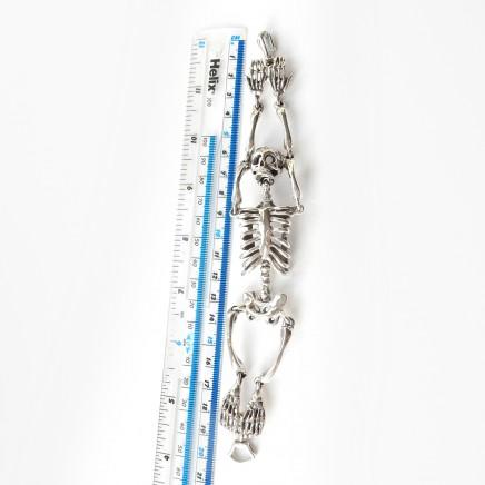 Photo of Solid Silver Skull Skeleton Wrap Bracelet Fine Skull Jewelery Articulated