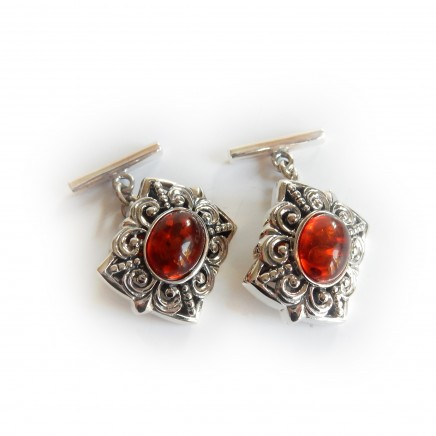 Photo of Sterling Silver Amber Celtic Cufflinks