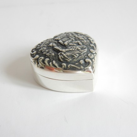 Photo of Sterling Silver Dutch Repousse Heart Trinket Pill Box
