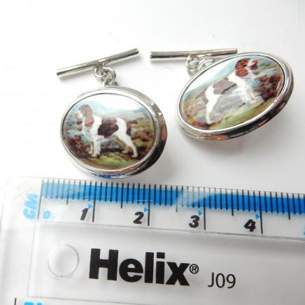 Photo of Sterling Silver Enamel Spaniel Dog Hunting Cufflinks Mens Jewelry