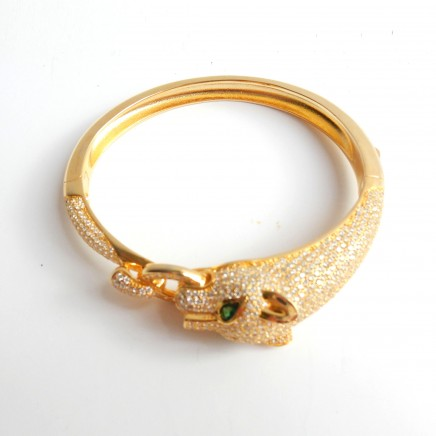 Photo of Sterling Silver Gold Panthere Wild Cat Cuff Bracelet