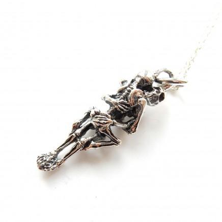 Photo of Sterling Silver Gothic Skeleton Skull Lovers Pendant