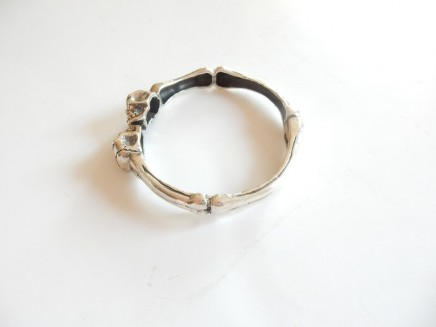 Photo of Sterling Silver Gothic Skull & Bones Bangle