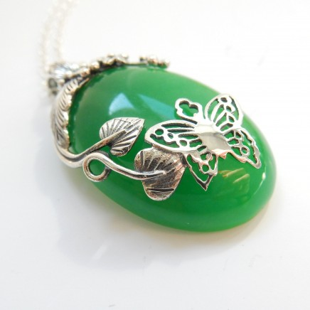 Photo of Sterling Silver Jade Butterfly Leaf Pendant Necklace