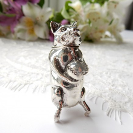 Photo of Sterling Silver Pig Piggy Bank Vesta Match Safe Snuff Box