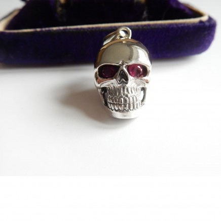 Photo of Sterling Silver Real Ruby Skull Pendant