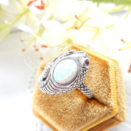 Photo of Sterling Silver Ruby Opal Snake Serpent Ring US Size 7 3/4