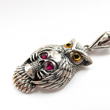 Photo of Sterling Silver Ruby Skull Owl Pendant Necklace