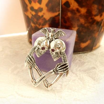 Photo of Sterling Silver Ruby Skull Skeleton Bat Pendant Gothic Skull Jewelery