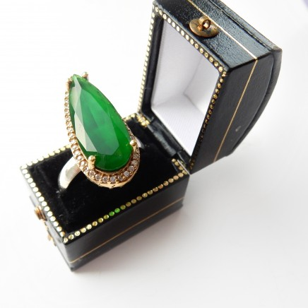 Photo of Sterling Silver Vermeil Emerald Green Paste Navette Ring Cubic Zirconia