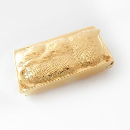 Photo of Sterling Silver Vermeil Gold Cat Vesta Match Safe Snuff Box