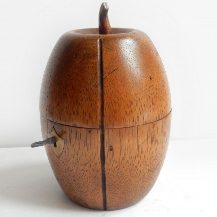 Photo of Treen Wood Pear Melon Caddy with Lock & Key