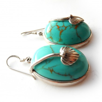 Photo of Turquoise Leaf Earrings Sterling Silver