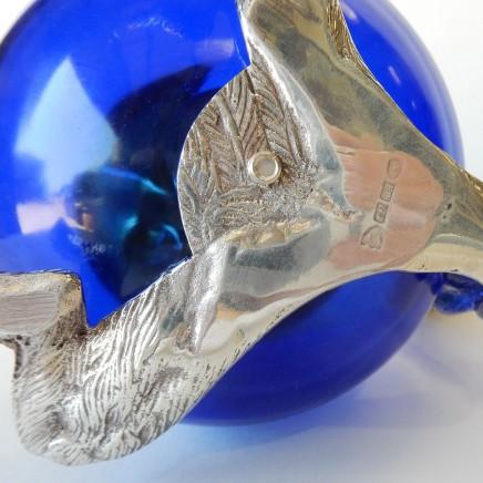 Photo of Victorian Blue Cobalt Glass Squirrel Biscuit Barrel Jar Silverplate