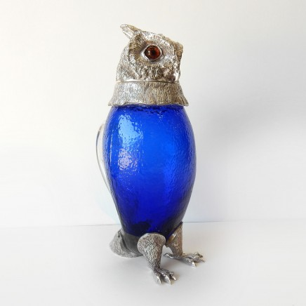 Photo of Victorian Cobalt Glass Owl Decanter Pitcher Jug Silverplate