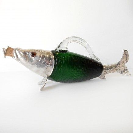 Photo of Victorian Glass Fish Trout Decanter Jug Silverplate